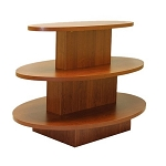 OVAL 3 TIER DISPLAY TABLE CHERRY