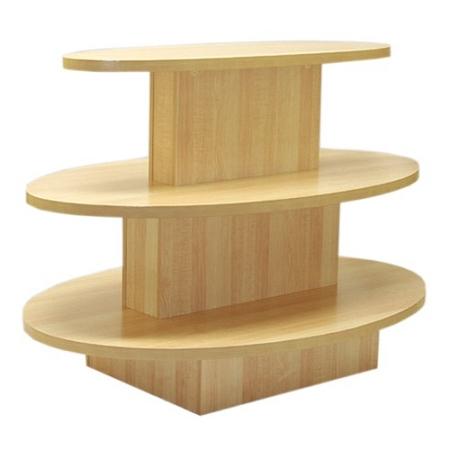 Maple 3 Tier Oval Display Table, 3 Tier Round Display Table
