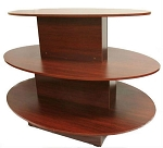 OVAL 3 TIER DISPLAY TABLE WALNUT