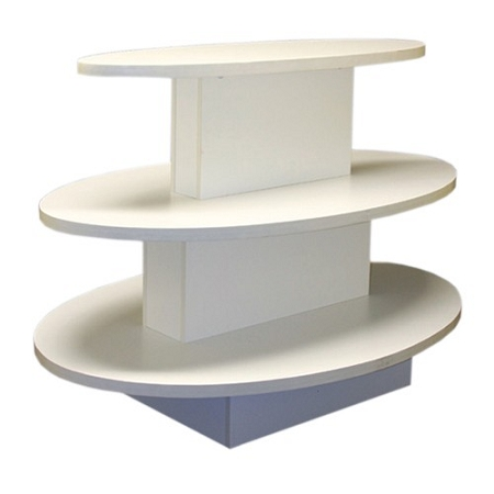 White 3 Tier Oval Display Table