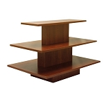 RECTANGULAR 3 TIER DISPLAY TABLE WALNUT