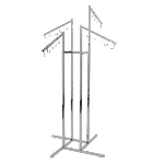Four Way Clothing Rack With 5 Hook Waterfall Arm