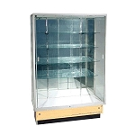 Aluminum  Frame Glass Wallcase With Maple  Base
