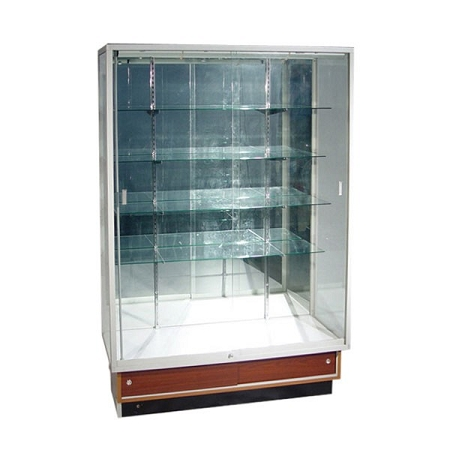 Aluminum Frame Glass Wallcase With Walnut Base