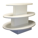 OVAL 3 TIER DISPLAY TABLE WHITE